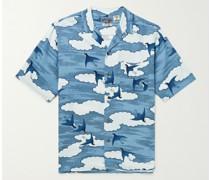 Camp-Collar Printed Chirimen Crepe Shirt