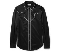 Slim-fit Contrast-trimmed Satin Western Shirt