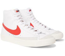 Blazer Mid '77 Vintage Suede-Trimmed Leather High-Top Sneakers