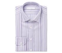 Purple Slim-fit Striped Cotton Shirt