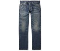 Slim-Fit Distressed Slevedge Denim Jeans