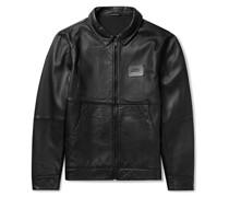 Logo-Appliquéd Leather Harrington Jacket
