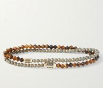 14-Karat Gold, Tiger's Eye and Enamel Wrap Bracelet