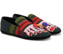 Embellished Intarsia Canvas Loafers