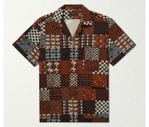 Printed Convertible-Collar Seersucker Shirt