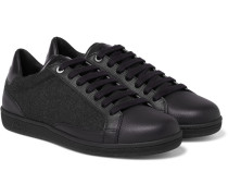 Gymnasium Textured-leather And Felt Sneakers