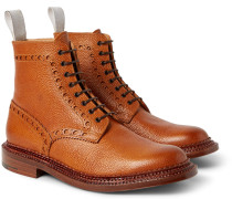 + Neighborhood Charles Burnished Pebble-grain Leather Brogue Boots