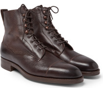 Galway Cap-toe Grained-leather Boots