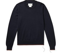 Suede and Contrast-Trimmed Cotton and Wool-Blend Sweater