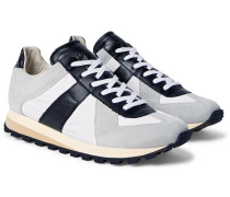 Suede, Leather And Shell Sneakers