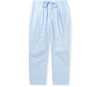 Cropped Pleated Cotton-Voile Drawstring Trousers