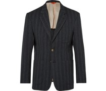 Unstructured Striped Woven Blazer