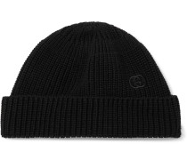 Logo-Embroidered Cable-Knit Cotton Beanie
