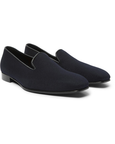 Anderson & Sheppard Herren + George Cleverley Leather-trimmed Cashmere Slippers