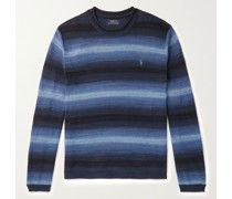 Logo-Embroidered Striped Cotton and Linen-Blend Sweater