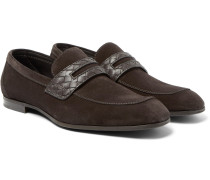 Intrecciato Leather-trimmed Suede Penny Loafers