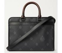 Logo-Print Full-Grain Leather Briefcase