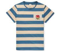 Appliquéd Striped Cotton-jersey T-shirt