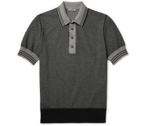 Contrast-tipped Knitted Cotton Polo Shirt