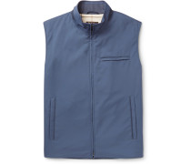 Slim-fit Suede-trimmed Quilted Storm System Shell Gilet