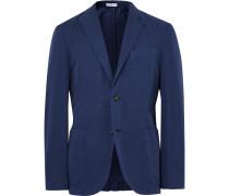 Blue K-jacket Slim-fit Cotton And Linen-blend Suit Jacket