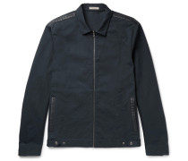 Intrecciato Leather-trimmed Cotton-twill Bomber Jacket