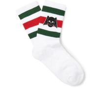 Appliquéd Striped Stretch Cotton-Blend Socks
