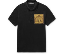 Slim-fit Cobra-appliquéd Cotton-piqué Polo Shirt