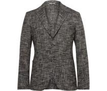 Grey Slim-fit Unstructured Textured Cotton-blend Blazer