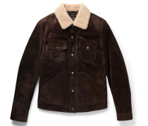 Slim-fit Shearling-trimmed Suede Jacket