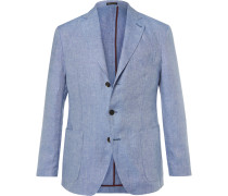Blue Slim-fit Slub Linen Blazer