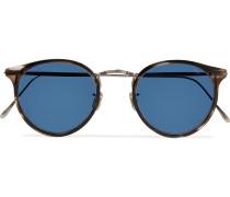 Round-Frame Acetate and Gunmetal-Tone Sunglasses