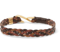 Woven Leather Gold-tone Bracelet