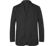 Black Slim-fit Unstructured Cotton Blazer
