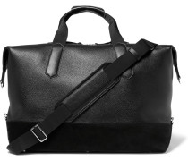 Suede-trimmed Grained-leather Holdall