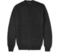 Waffle-knit Wool Zip-up Cardigan
