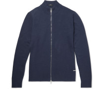 Montez Ribbed Cotton-blend Zip-up Cardigan