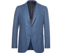 Blue Slim-fit Brushed Wool, Cotton And Cashmere-blend Blazer