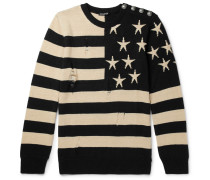 Distressed Intarsia Linen Sweater