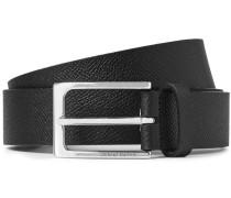 3cm Black Signature Pebble-grain Leather Belt