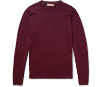 Slim-fit Check-trimmed Cashmere Sweater