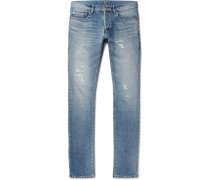 Slim-fit 17cm Hem Distressed Washed-denim Jeans