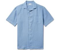 Palm Pat Camp-collar Linen Shirt