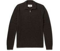 Leather Elbow-patch Wool Half-zip Sweater