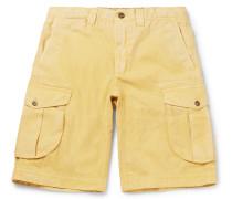 Herringbone Washed-cotton Cargo Shorts