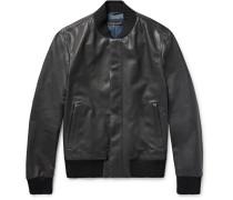 Slim-fit Intrecciato-trimmed Leather Bomber Jacket