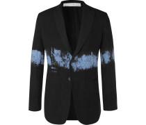 Black Slim-fit Dip-dyed Unstructured Linen Blazer - Black