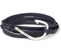 Hook Grained-leather Silver-plated Wrap Bracelet
