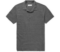 Felix Slim-fit Open-collar Mélange Cotton-jersey Polo Shirt