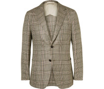 Brown Houndstooth Checked Silk, Linen And Wool Blend Blazer